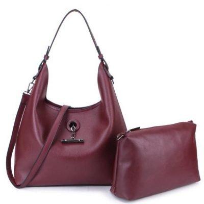 Bag in Bag Tas Finsy paars paarse aubergine dames kunstleder tassen dames handtassen schoudertassen musthave fashion it bags kopen bestellen