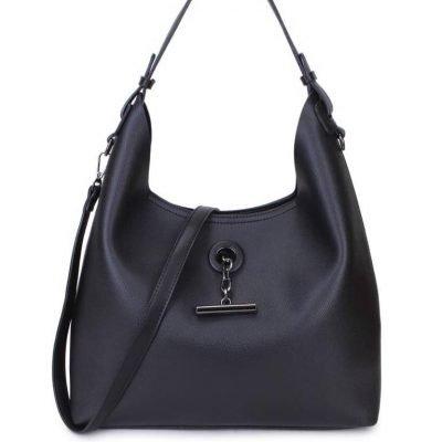 Bag in Bag Tas Finsy zwart zwarte dames kunstleder tassen dames handtassen schoudertassen extra tas musthave fashion it bags kopen bestellen online