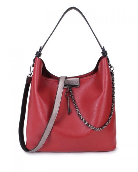 Bag in Bag Tas Key Chain rood rode sleutel met ketting details handtassen dames schoudertassen 2018 hippe trendy tassen itbags bestellen kado
