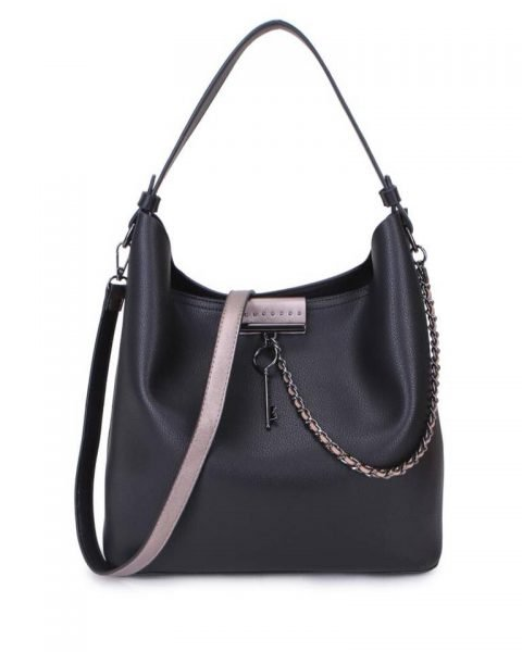 Bag in Bag Tas Key Chain zwart zwarte sleutel met ketting details handtassen dames schoudertassen 2018 hippe trendy tassen itbags bestellen kado