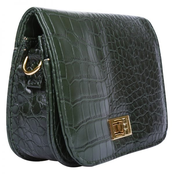 Belt Bag Snake groen groene cognac riemtassen heuptassen fannypack waistbag kettinghengsel crossbody tas slangenrpint zilver fashion kopen bestellen zijkant