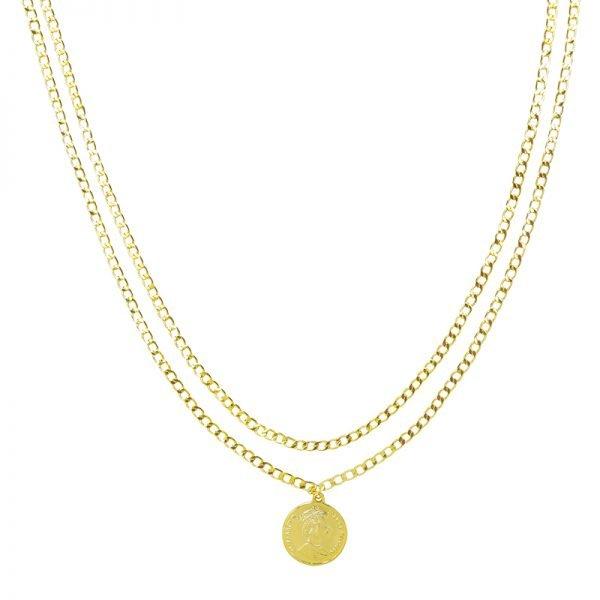 Dubbele Ketting La Reina goud gouden 2 schakelkettingen met munt layerd necklage online kettingen dames sieraden kopen