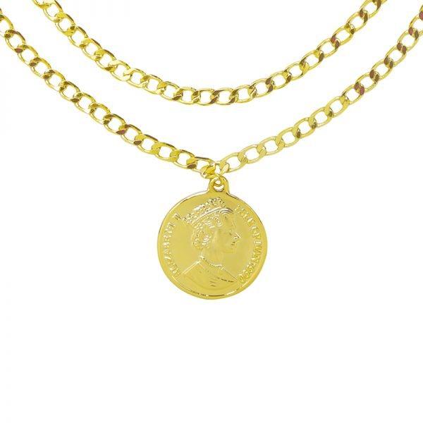 Dubbele Ketting La Reina goud gouden 2 schakelkettingen met munt layerd necklage online kettingen dames sieraden kopen bestellen