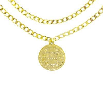 Dubbele Ketting La Reina goud gouden 2 schakelkettingen met munt layerd necklage online kettingen dames sieraden kopen bestellen achter