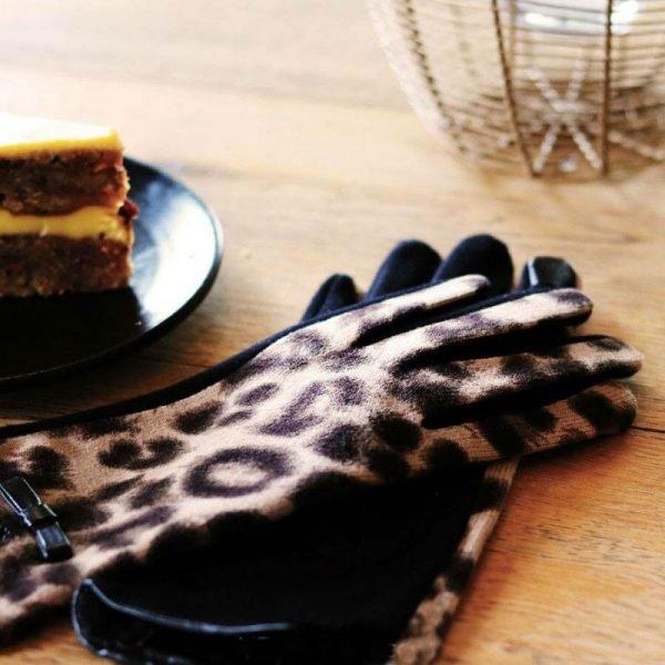 Handschoenen My Leopard bruin bruine leopard print Gloves dames handschoenen met animal print suede feel fashion winter warme wanten bestellen