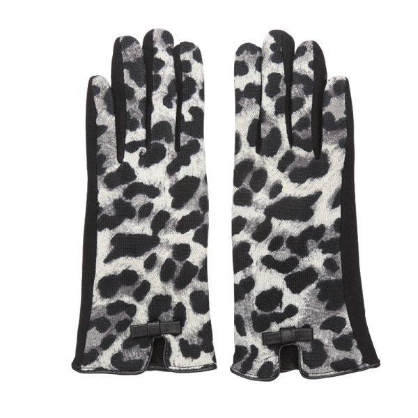 Handschoenen My Leopard grijs zwart zwarte Gloves dames handschoenen met animal print suede feel fashion winter warme wanten