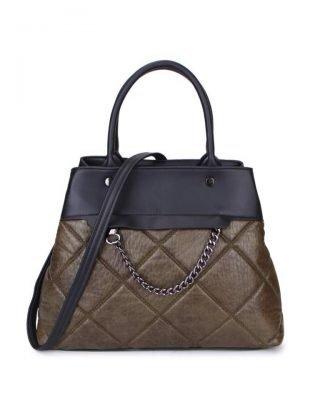 Handtas Happy Chain groen groene zwarte dames schoudertassen zilveren ketting detail online trendy tassen kopen bestellen