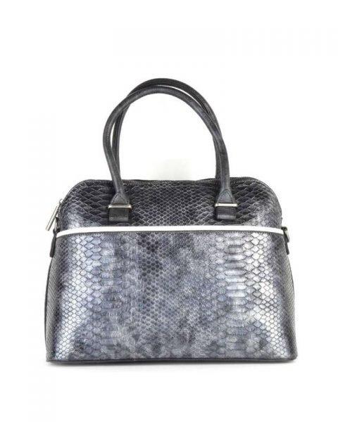 Handtas Snake line antraciet zilver zilveren slangenprint tassen bowlingbag online giuliano tas kopen bestellen snake