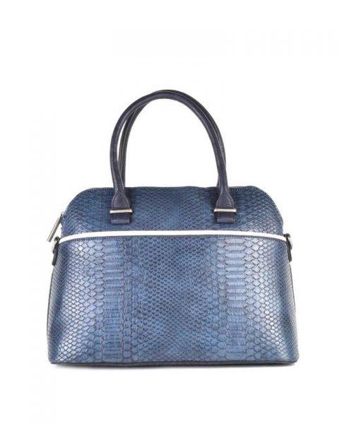 Handtas Snake line blauw blauwe slangenprint tassen bowlingbag online giuliano tas kopen bestellen snake