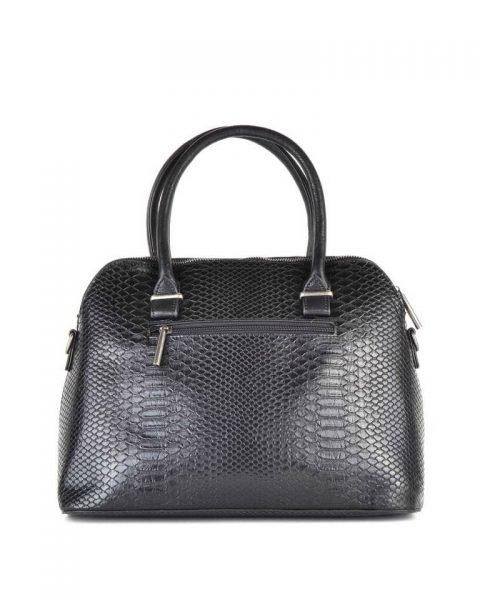 Handtas Snake line zwart zwarte slangenprint tassen bowlingbag online giuliano tas kopen bestellen snake achterkant