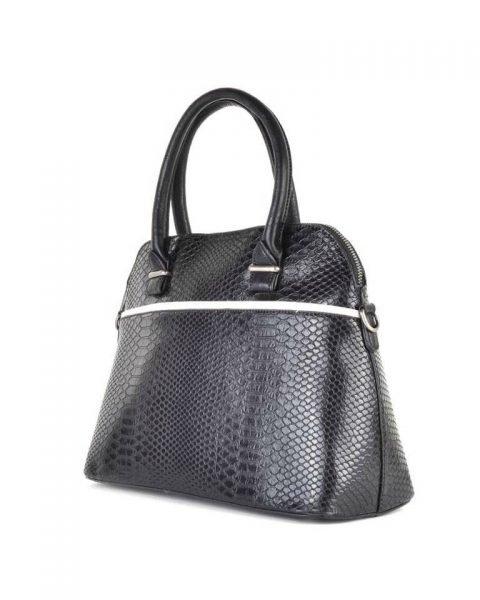 Handtas Snake line zwart zwarte slangenprint tassen bowlingbag online giuliano tas kopen bestellen snake side