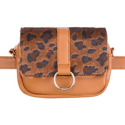 Heuptas Leopard schoudertas cognac bruin bruine panter tijger print flap riemtassen beltbags waistbags fannypack ketting hengsel online kopen