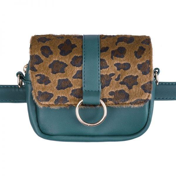 Heuptas Leopard schoudertas groen groene panter tijger print flap riemtassen beltbags waistbags fannypack ketting hengsel online kopen