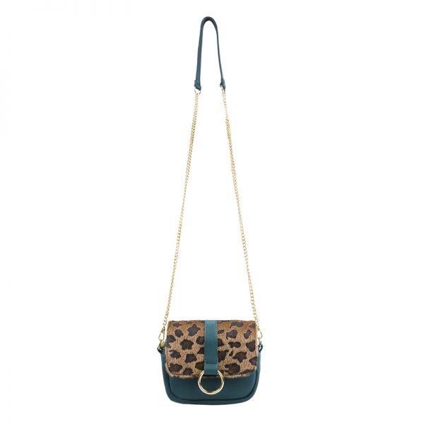 Heuptas Leopard schoudertas groen groene panter tijger print flap riemtassen beltbags waistbags fannypack ketting hengsel online kopen crossbody