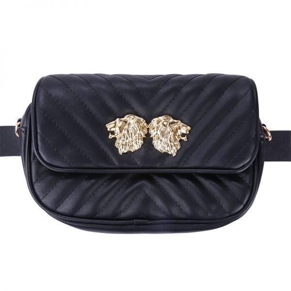 Heuptas Lions zwart zwarte musthave dames riem heup tassen bagbelt leeuwenkop ruime hip kopen bestellen look a like
