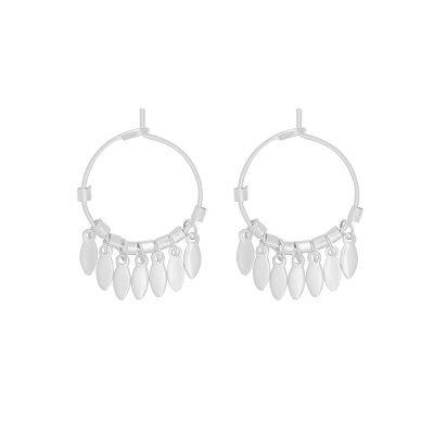 Oorbellen Dancing Leaves zilver zilveren ronde dames oorbellen creolen zilveren bedeltjes boho earrings kopen