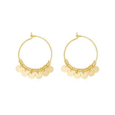 Oorbellen Dancing Rounds goud gouden oorbel creolen muntjes rvs dames sieraden fashion musthaves kopen bestellen