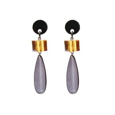 Oorbellen Glass Stones donker grijs oranje oorbellen doorzichtige stenen musthave dames oorbellen oorhangers chique kopen