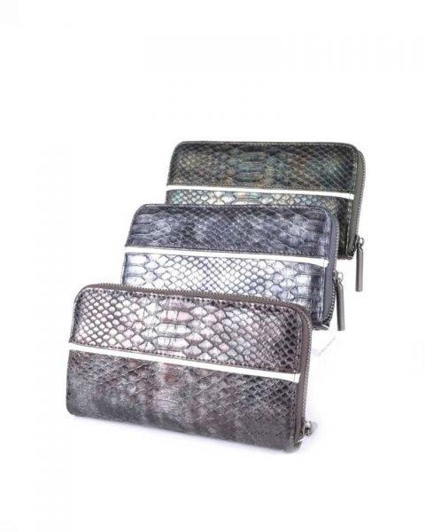 Portemonnee Snake line antraciet groen coffee slangenprint Portemonnees online giuliano wallets kopen bestellen snake achterkant