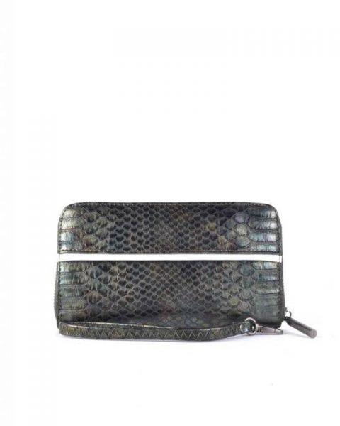 Portemonnee Snake line groen groene slangenprint Portemonnees online giuliano wallets kopen bestellen snake achterkant