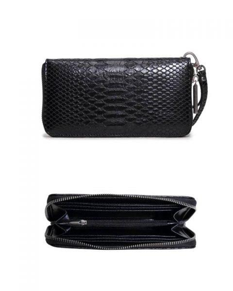 Portemonnee Snake line zwart zwarte slangenprint Portemonnees online giuliano wallets kopen bestellen snake achterkant