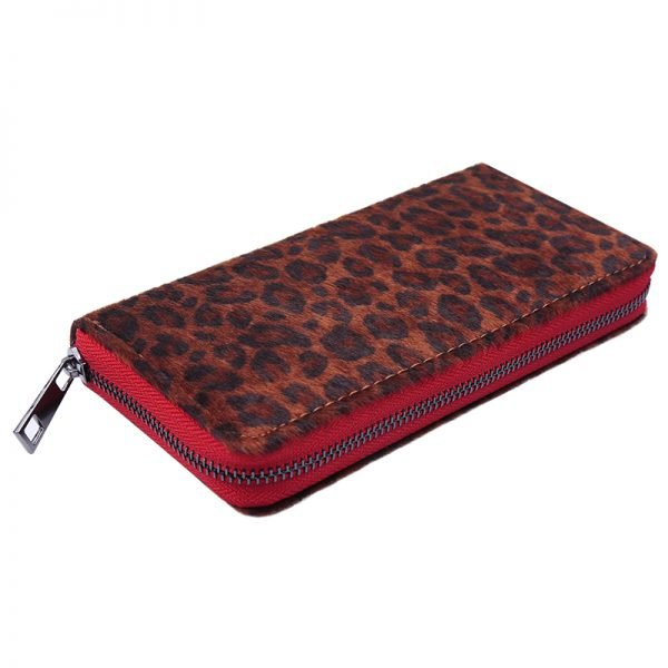 Portemonnee happy Leopard rode rood rits panter dieren print groene rits portemonnees kopen bestellen