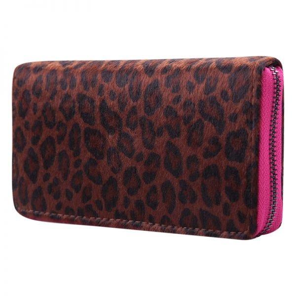 Portemonnee happy Leopard roze pink rits panter dieren print groene rits portemonnees kopen bestellen fashion