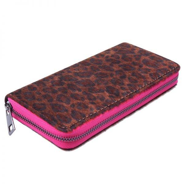 Portemonnee happy Leopard roze pink rits panter dieren print groene rits portemonnees kopen bestellen fashion musthaves