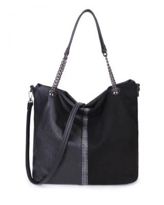 Schoudertas Mercy Chains zwart zwarte kunstleder tassen dames ketting hengsel musthave fashion it bags kopen bestellen