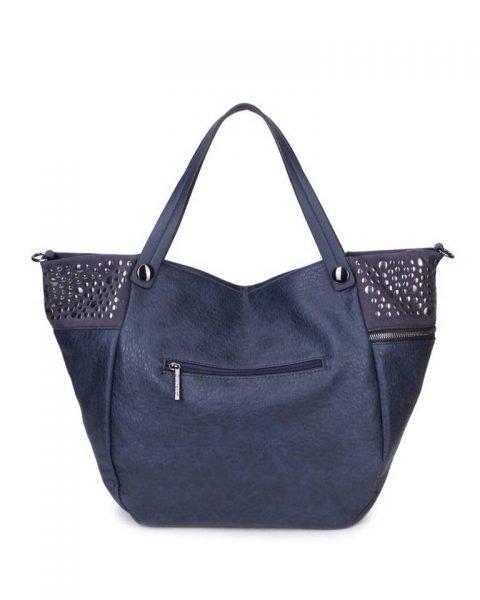 Shopper Happy Studs blauwe blauw dames handtassen studs detail shoppers grote ruime hippe trendy it bags online kopen bestellen achter