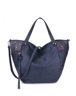 Shopper Happy Studs blauwe blauw dames handtassen studs ring detail shoppers grote ruime hippe trendy it bags online kopen bestellen