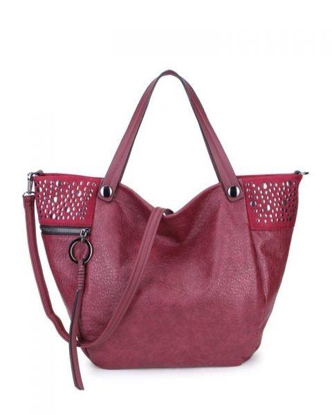 Shopper Happy Studs rood rode dames handtassen studs ring detail shoppers grote ruime hippe trendy it bags online kopen bestellen