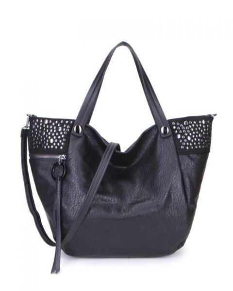Shopper Happy Studs zwart zwarte dames handtassen studs ring detail shoppers grote ruime hippe trendy it bags online kopen bestellen