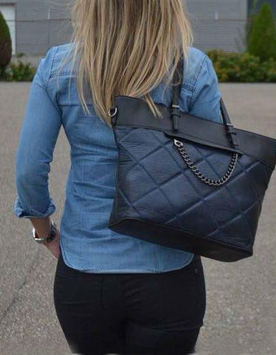 Shopper-Mercy-Chains-blauw blauwe-zwarte-kunstleder-tassen-shoppers-dames-ketting-hengsel-musthave-fashion-it-bags-kopen-bestellen online