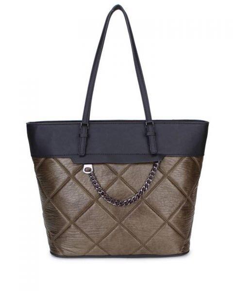 Shopper Mercy Chains groen groene zwarte kunstleder tassen shoppers dames ketting hengsel musthave fashion it bags kopen bestellen