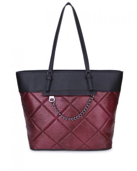 Shopper Mercy Chains rood rode zwarte kunstleder tassen shoppers dames ketting hengsel musthave fashion it bags kopen bestellen