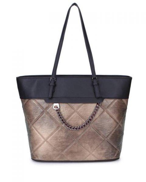 Shopper Mercy Chains taupe zwarte kunstleder tassen shoppers dames ketting hengsel musthave fashion it bags kopen bestellen