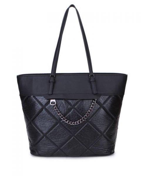 Shopper Mercy Chains zwart zwarte kunstleder tassen shoppers dames ketting hengsel musthave fashion it bags kopen bestellen