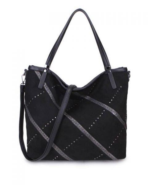 Shopper Stiksels zwart zwarte suede suedine kunstlederen dames tassen schoudertassen trendy hippe 2018 itbags online kopen bestellen