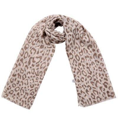 Sjaal Happy Leopard bruin bruine creme damesjaals met luipaard print goedkope hippe sjaaltjes kopen bestellen