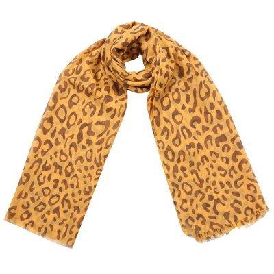 Sjaal Happy Leopard geel gele bruin zwart dames sjaals met luipaard print goedkope hippe sjaaltjes kopen bestellen