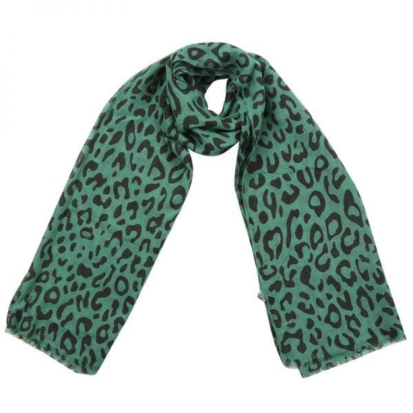 Sjaal Happy Leopard groen groene zwart dames sjaals met luipaard print goedkope hippe sjaaltjes kopen bestellen