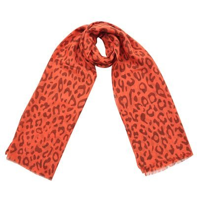 Sjaal Happy Leopard oranje rood dames sjaals met luipaard print goedkope hippe sjaaltjes kopen bestellen