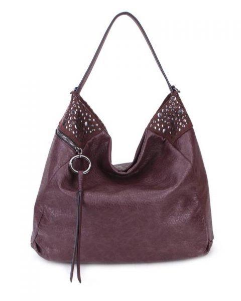 a7b5a3dc925 Tas Happy Studs bruin bruine coffee dames handtassen studs detail grote  ruime hippe trendy it bags