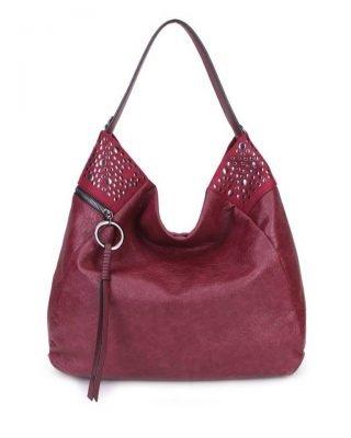 Tas Happy Studs rood rode dames handtassen studs detail grote ruime hippe trendy it bags online kopen bestellen achter