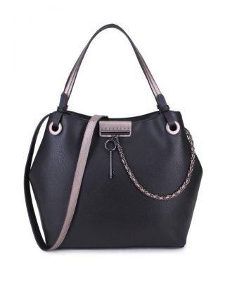 Tas Key Chain zwart zwarte sleutel met ketting details handtassen dames schoudertassen 2018 hipe trendy tassen itbags bestellen kopen