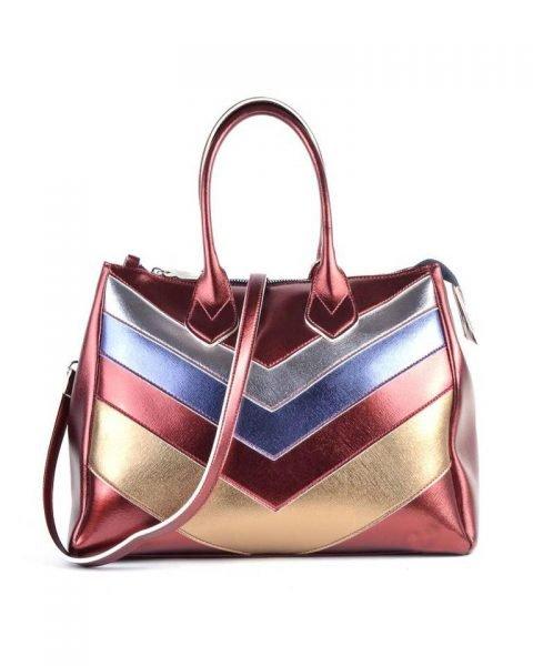 Tas Retro Lines rood rode goud zilver metallic gekleurde dames ruime grote tassen itbags look a like musthave dames kleine tassen giuliano kunstleder