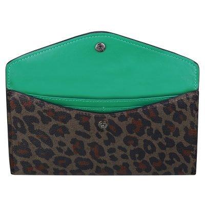 portemonnee Enveloppe leopard bruin bruine portemonnees clutches dieren panter print groene binnenkant kopen bestellen