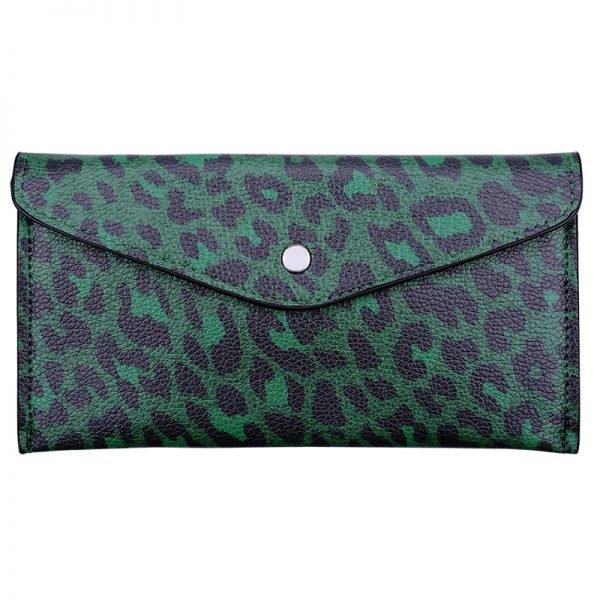 Gekleurde Leren Portemonnee.Portemonnee Enveloppe Leopard Verschillende Trendy Hippe