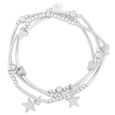Armband love of stars zilver Zilveren armbanden setje 3 armbanden kraaltjes dames musthave fashion bracelets arm candy